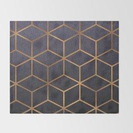Dark Purple and Gold - Geometric Textured Gradient Cube Design Throw Blanket
