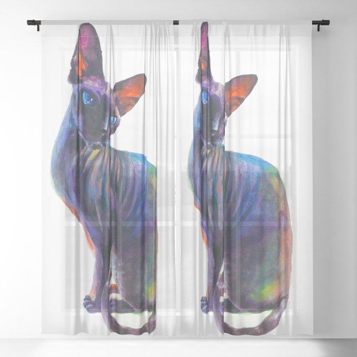 Black sphynx Sheer Curtain