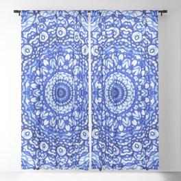 Blue Mandala Mehndi Style G403 Sheer Curtain