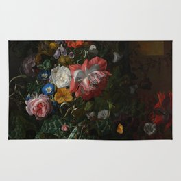 Rachel Ruysch - Roses, Convolvulus, Poppies and other flowers in an Urn on a Stone Ledge (1680) Rug