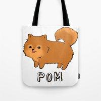 pomeranian Tote Bags featuring Pomeranian by Iroha Kowalski