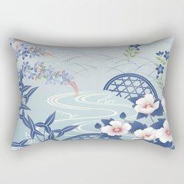 Elegant Light Blue Japanese Flower Garden Rectangular Pillow