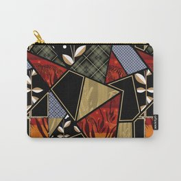 A complex patchwork in black and orange colors . Carry-All Pouch