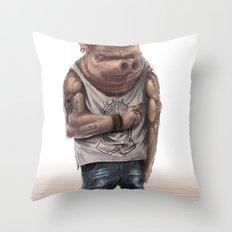 Pig Thug Throw Pillow