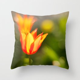 Red and yellow tulip Throw Pillow
