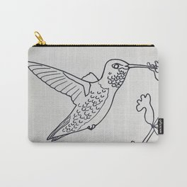 Broad tailed Hummingbird B&W Carry-All Pouch