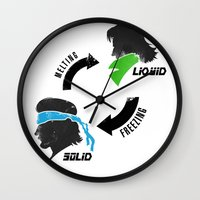 metal gear solid Wall Clocks featuring Metal Gear: Solid Liquid States by Bendragon