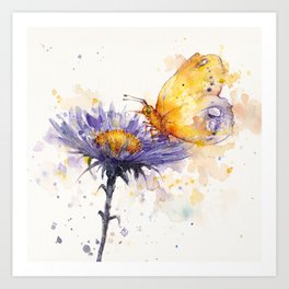 Flowers & Flutters Art Print