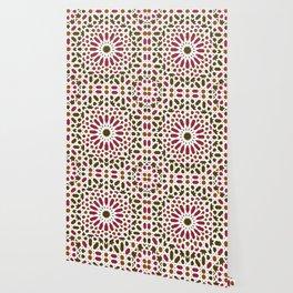 -A1- Red Traditional Moroccan Zellij Artwork. Wallpaper