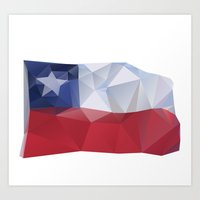 chile Art Prints featuring CHILE FLAG  by Favio Torres