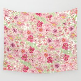 Pastel pink red watercolor hand painted floral Wall Tapestry