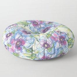 Big Blue Poppies Floor Pillow