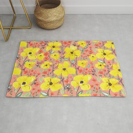 Yellow meadow flowers pattern Rug