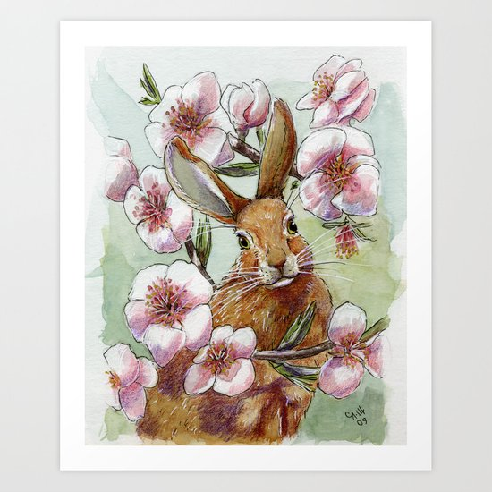 Amandine - Rabbit and flowers Art Print