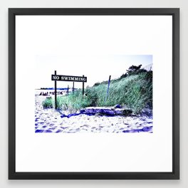 No Swimming Framed Art Print