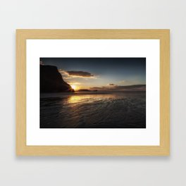 Sunset and wet sand at Worms Head Framed Art Print