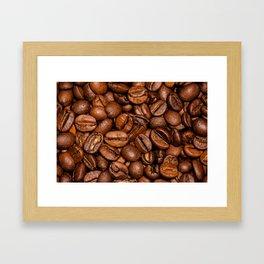 Shiny brown coffee beans Framed Art Print
