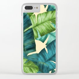 Tropical Banana Leaves Original Pattern Clear iPhone Case