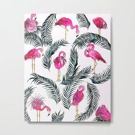 Flamingoes on White Metal Print