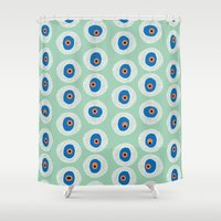 evil eye Shower Curtains featuring Evil Eye Charm - Hemlock  by alterEGO