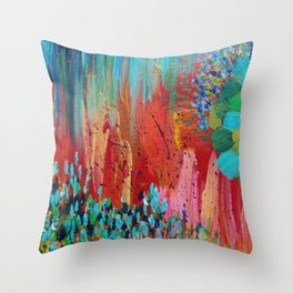 REVISIONED RETRO - Bright Bold Red Abstract Acrylic Colorful Painting 70s Vintage Style Hip 2012 Throw Pillow