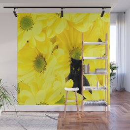 Black Cat Yellow Flowers Spring Mood #decor #society6 #buyart Wall Mural