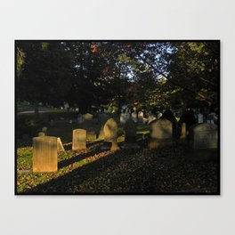 Headstones in a Fall Sunset Canvas Print