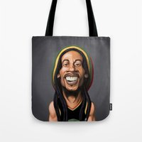 marley Tote Bags featuring Celebrity Sunday - Robert Nesta Marley by rob art | illustration