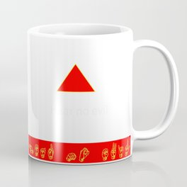 Hear No Evil: Yellow ASL on Red Banner Coffee Mug