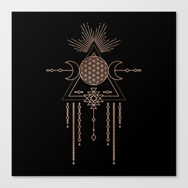 Mandala Flower of Life Rose Gold Pink Canvas Print