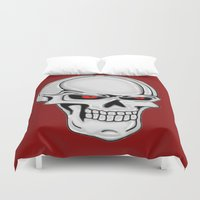 metallic Duvet Covers featuring Metallic Skull by J&C Creations