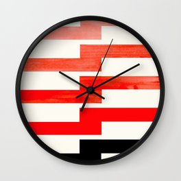 Minimalist Mid Century Circle Frame Vermillion Red Zig Zag Colorful Lightning Bolt Geometric Pattern Wall Clock