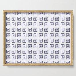 Antic pattern 21- roman or greek pattern - blue Serving Tray