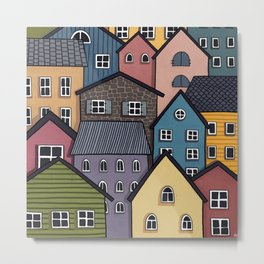 Colourful Town Metal Print