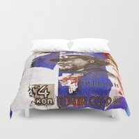 soviet Duvet Covers featuring Soviet times by LuzGraphicStudio