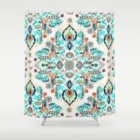 folk Shower Curtains featuring Modern Folk in Jewel Colors by micklyn