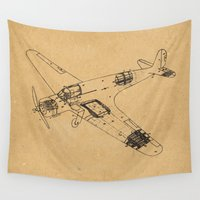 airplane Wall Tapestries featuring Airplane diagram by marcusmelton