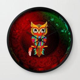 Wonderful owl, mandala design Wall Clock