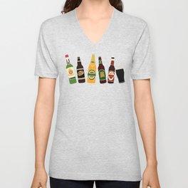 Alcohol Print of Beer, Cider and Gin Bottles Unisex V-Neck