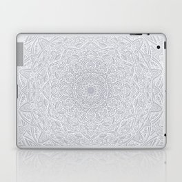 Most Detailed Mandala! Cool Gray White Color Intricate Detail Ethnic Mandalas Zentangle Maze Pattern Laptop & iPad Skin