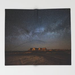 Across the Universe - Milky Way Galaxy Above Mesa in Arizona Throw Blanket