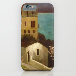Full Moon over Taormina, Sicily, Italy - Ionian Sea landscape painting by Csontváry Kosztka Tivadar iPhone Case