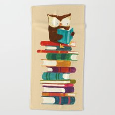 Owl Reading Rainbow Beach Towel