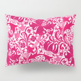 William Morris Iris and Lily, Fuchsia Pink and Burgundy Pillow Sham