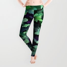 Foliage Abstract Pop Art In Jade Green and Purple Leggings