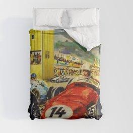 1957 Grand Prix Motor Racing Nurburgring Germany Vintage Advertising Poster Comforters