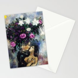 Lovers Under Calla Lilies & Flowers floral portrait painting by Marc Chagall Stationery Cards