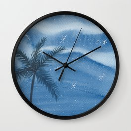 Starry Palm Nights Wall Clock