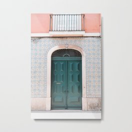 Green Door with Tiles and Pink Wall in Lisbon, Portugal | Travel Photography | Metal Print