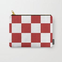 Large Checkered - White and Firebrick Red Carry-All Pouch